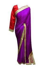 femmes-elegat-INDIEN-crepe-Sari-Contraste-chemisier-Bollywood-Mariage-Costume