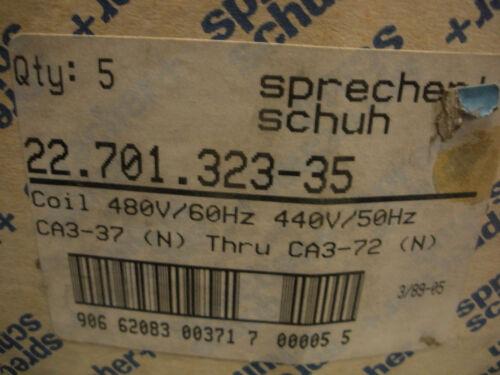 Sprecher Schuh 22.701.323-35 Coil 480v 60Hz 440v 50Hz CA3-37 thru CA3-72 New