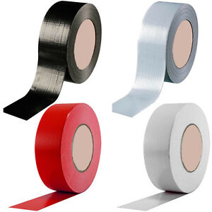 DUCK-DUCT-GAFFA-GAFFER-WATERPROOF-CLOTH-WHITE-BLACK-SILVER-TAPE-2-034-48MM-x-50M