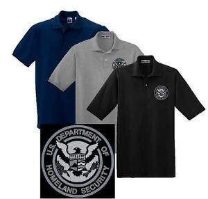 Subdued homeland security embroidered polo sport shirt m for Embroidered police polo shirts