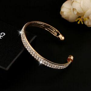 Fashion-Style-Gold-Crystal-Rhinestone-Bangle-Cuff-Bracelet-Jewelry-New-Women-tgs