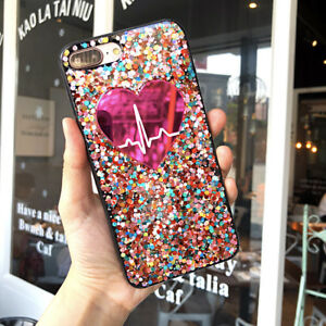 Bling-Glitter-Multi-Colored-Pink-Heart-Pulse-Cute-Protective-Case-For-iPhone