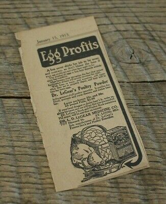 Advertising Bright Antique 1913 Magazine Ad Egg Profits Dr Legear's Poultry Powder Medicine Hen Diversified In Packaging 1910-19