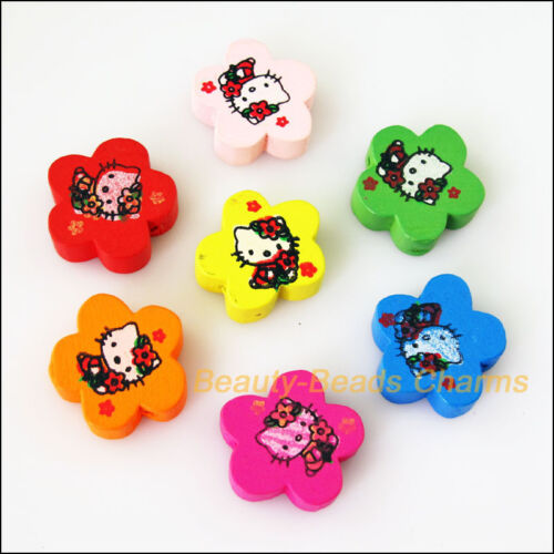 8Pcs Mixed Craft Wooden Animal Flower Star Cat Spacer Beads Charms 19.5mm