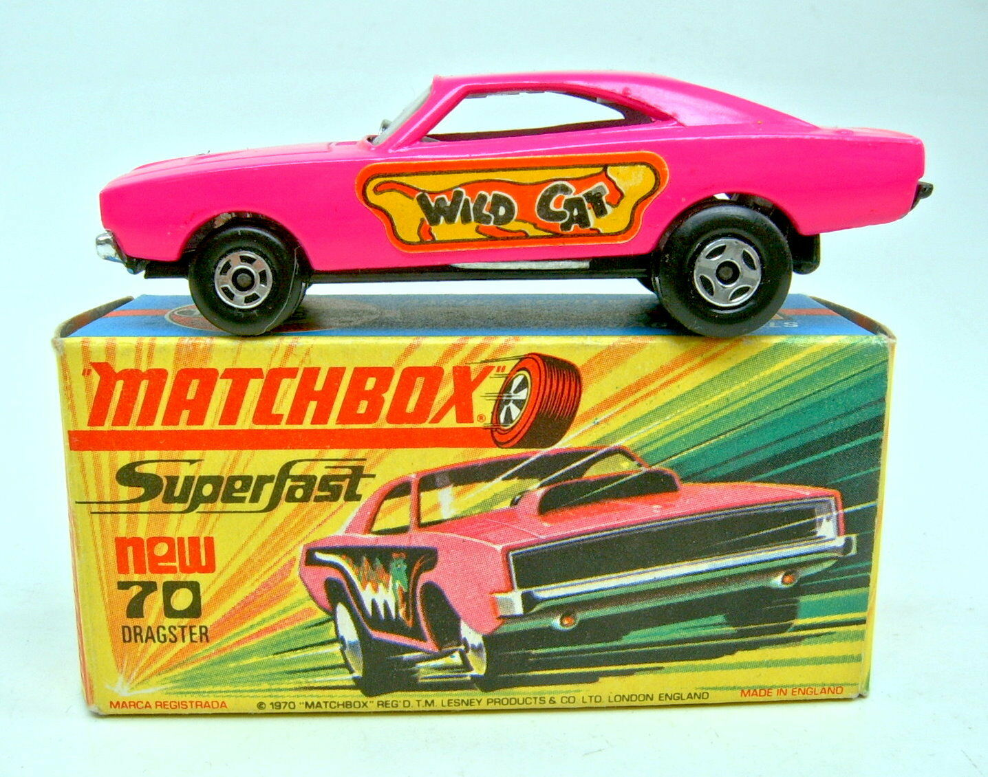 Matchbox Superfast nº 70b Dodge dragster escasos  Wild Cat  pegatinas