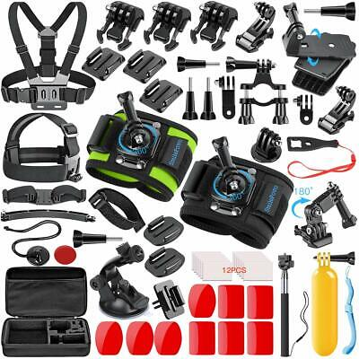 Navitech 9 in 1 Action Camera Accessory Combo Kit and Rugged Blue Storage Case Compatible with The PINGKO F71 Sports Action Camera