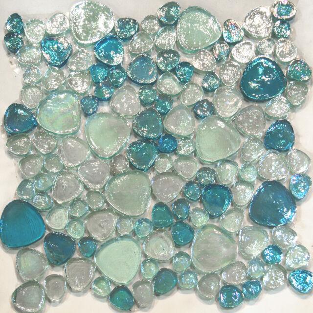 Sample-Blue Iridescent Random Pattern Glass Mosaic Tile Kitchen Backsplash Spa