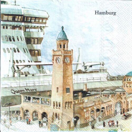 port ships 4 Single paper decoupage napkins Hamburg ferries  design-330 sea