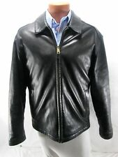 Men's Dockers Black Lamb Leather Coat Jacket  Size L Bomber Motorcycle Flight