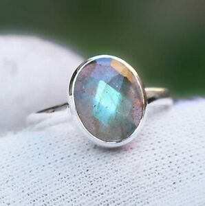 Natural-Labradorite-Gemstone-Handmade-Ring-925-Argent-sterling-Bijoux-MR2138