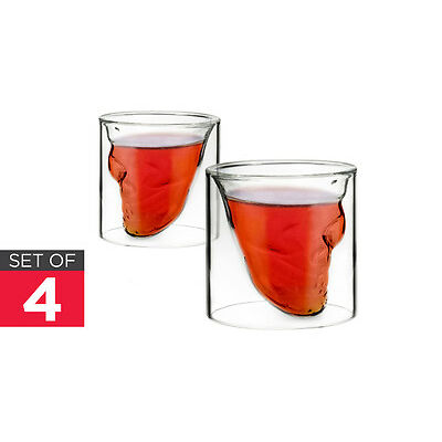 NEW Ovela Skull Shot Glasses 4 Set Crystal Drinkware Wine Glasses