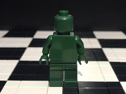 Lego Plain Dark Green Minifigure Head Torso Hands Legs Monochrome