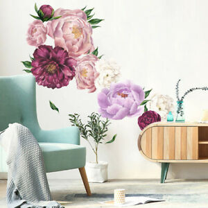 Removable-Peony-Flower-Wall-Sticker-Living-Room-Decal-Home-Art-Decor