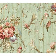 f188b94dd7 York Wallcoverings HA1326 Blue Book Parrots with Floral Bouquets Wallpaper