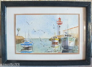 Watercolour-Port-Cotiniere-Oleron-Claude-Couty-Watercolor