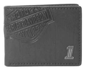 Harley Davidson Mens Embroidered Bar amp Shield Billfold Wallet Genuine leather