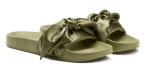 $90 size Flat 7.5 PUMA Bow Olive Slides Open Toe Flat size Womens Sandals NEW fdf22c