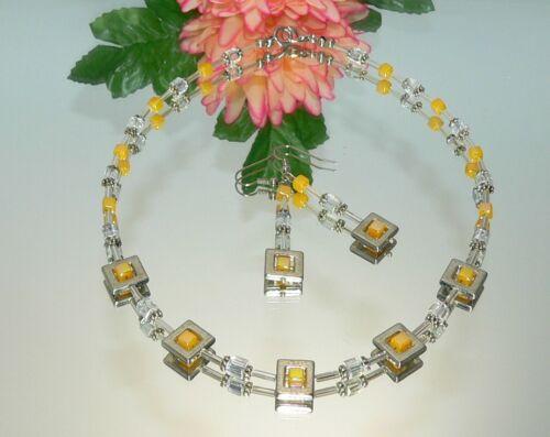 Precioso 2er schmuckset cadena ohrrring a partir de cubo de vidrio ACRY amarillo 135g