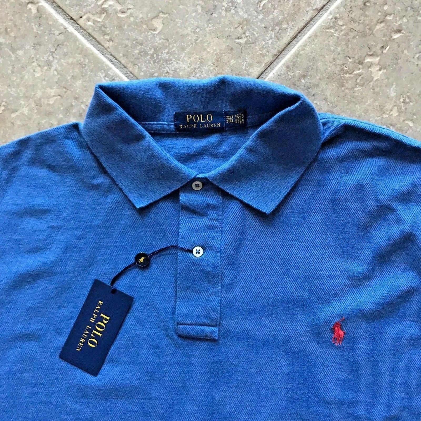 Polo Ralph Lauren Mesh Shirt Mens XL bluee Heather w  Red Pony Classic Fit NWT