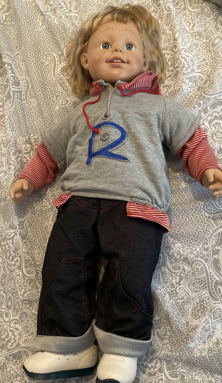 """Smoby Robbie/Robert Toddler Doll Pico 2004 24"""" Tall Vinyl/Cloth Body + Outfit"""