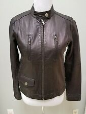 Banana Republic Full Zip Up Cropped Cafe Moto Black Leather Jacket Womens Small