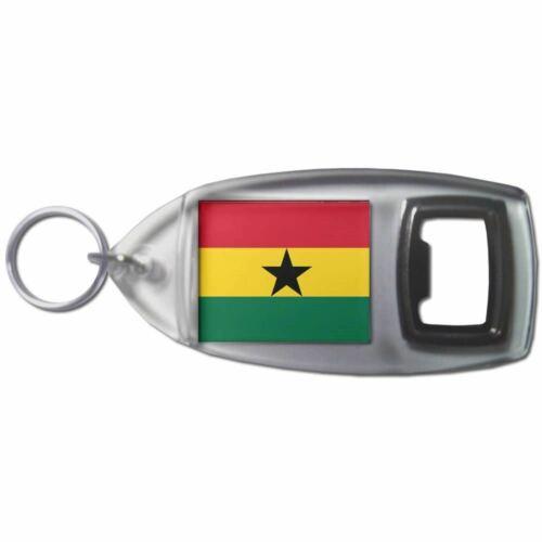 Ghana Flag Plastic Bottle Opener Key Ring New