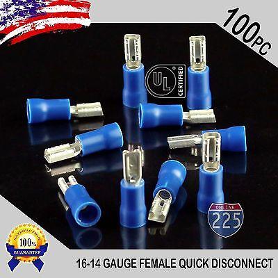 14-16 GAUGE 500 PK VINYL BLUE QUICK DISCONNECT FEMALE .250 TERMINAL CONNECTOR