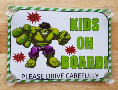 Superheroes incredible hulk kids On Board Car Laminated Sign
