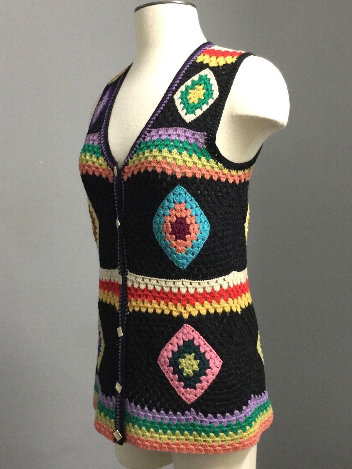 Vintage 70s Wool Handknit Crochet Black Multicolo… - image 7