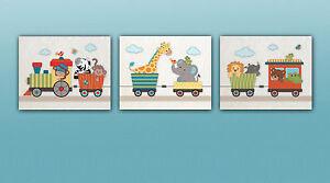 Jungle/Safari Animal Choo Choo Train Nursery Art Prints.Elephant,zebra,giraffe