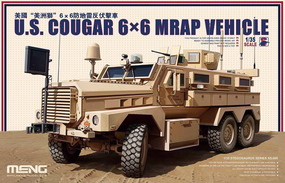 Meng 1 35 Scale  US Cougar 6 x 6 MRAP Vehicle  Model Kit (Multi-Colour)