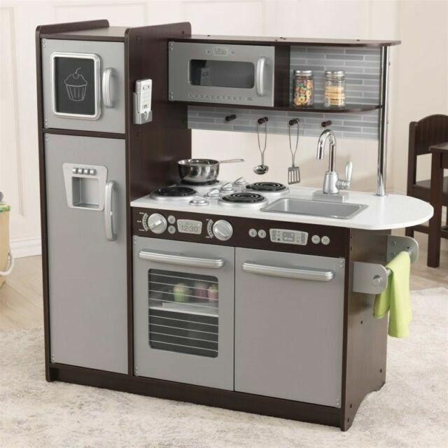Kidkraft Uptown Toy Kitchen Childrens Kids Wooden Pretend Play Espresso For Sale Online Ebay