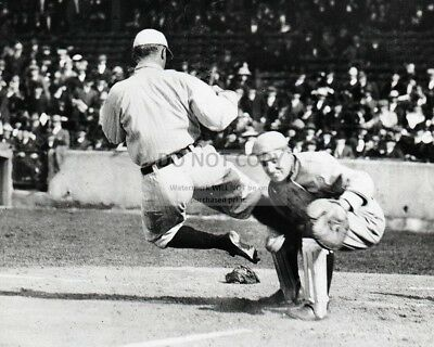 """FB-468 8X10 SPORTS PHOTO TY COBB /""""SLIDING/"""" INTO HOME IN 1920 HALL OF FAMER"""