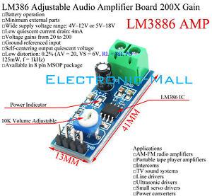5-12V-LM386-10K-Resistance-VOL-Adjustable-Audio-Amplifier-Board-200-Times-Gain