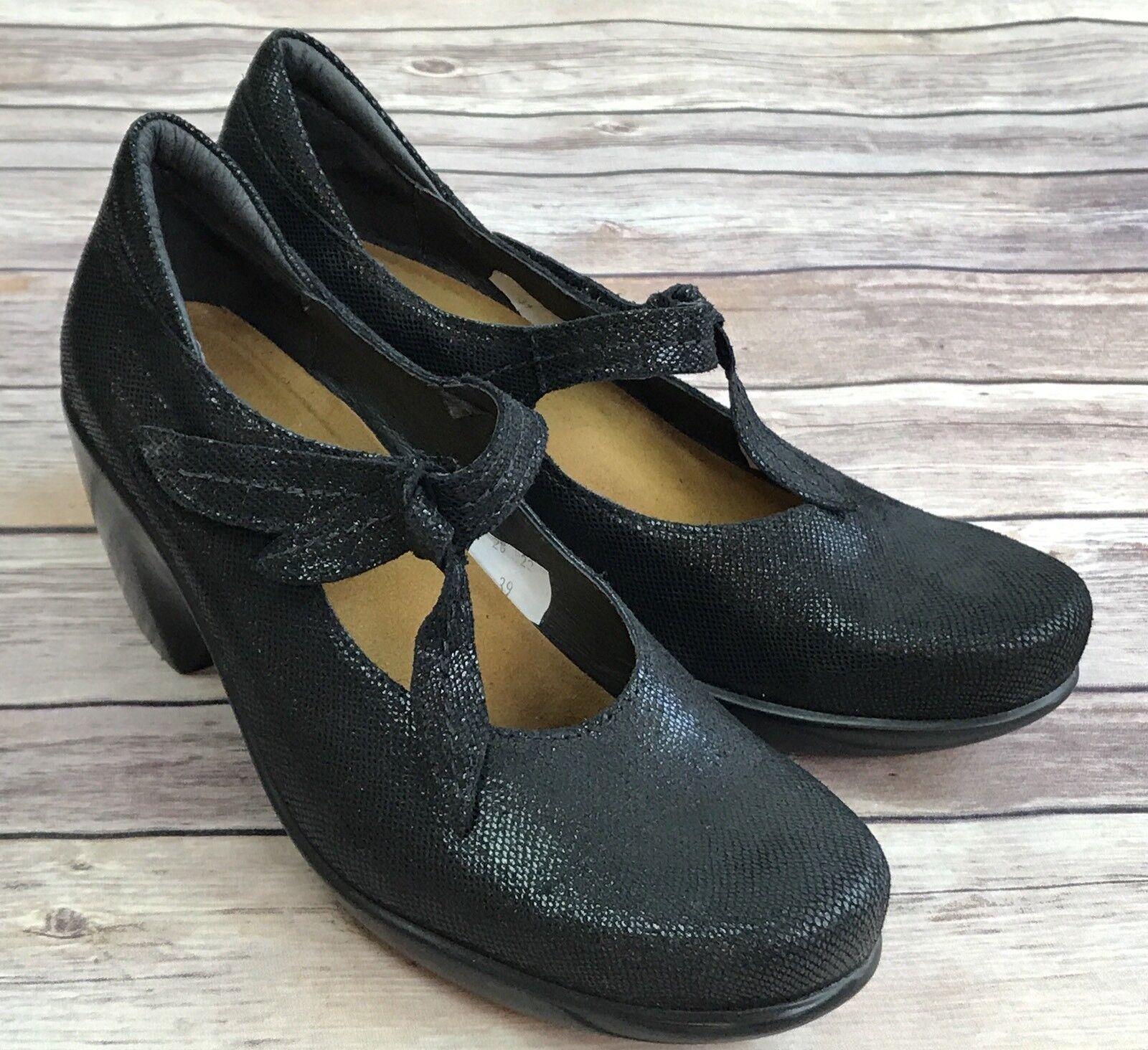 Naot Pleasure Black Shimmer Mary Jane Heels Size 8 NEW