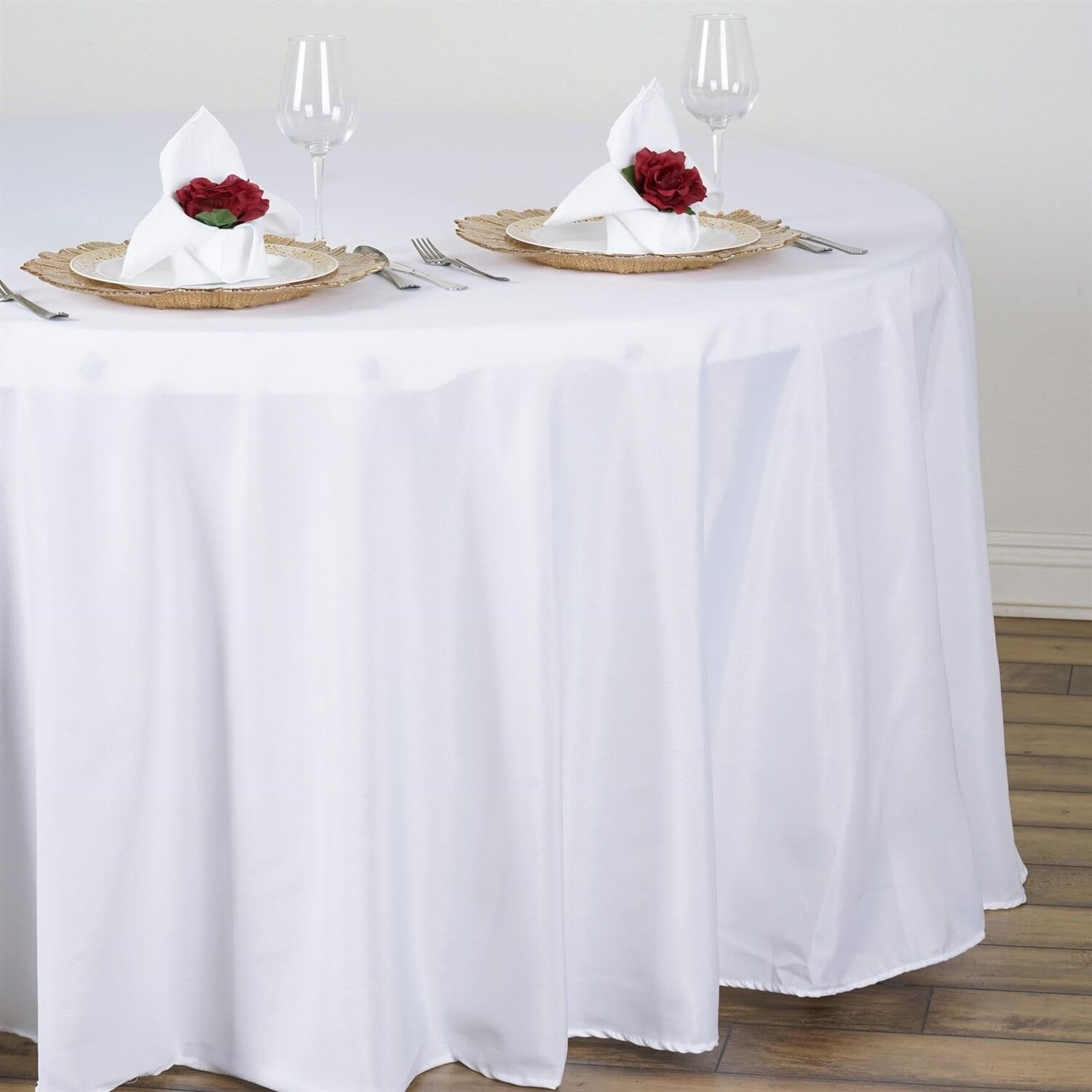 Weiß 108  inch ROUND Tablecloth Polyester Polyester Polyester Party WEDDING 5' Feet Table Cover USA 434a6f