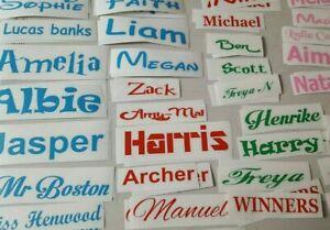 school lunchbox water bottle vinyl decal words Personalised Name stickers