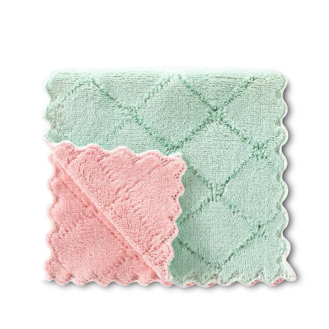 5PCS Super Absorbent Microfiber Kitchen Dish Cloth Towel sh Household Clean Y0D8