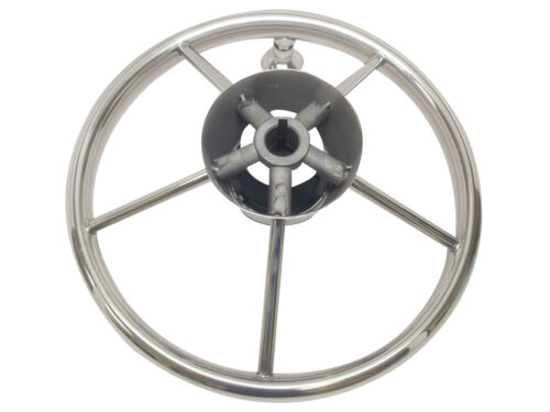 "MARINE BOAT STAINLESS STEEL STEERING WHEEL W// TURNING KNOB 15 1//2/"" DIA"