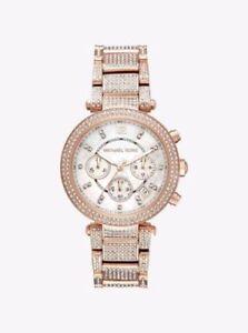 c39971d9a095 Michael Kors Parker Pavé Rose-Gold Watch MK6514 Ladies 796483335301 ...