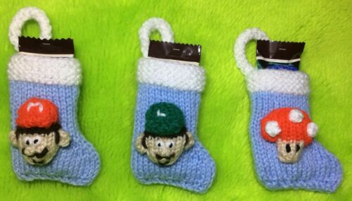 Mario and Luigi inspired 8cms Christmas stocking decoration KNITTING PATTERN