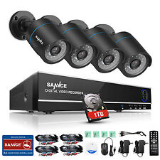 SANNCE 1TB 8CH 1080N 5IN1 DVR Email 1500TVL TVI Camera 66ft 720P Security System