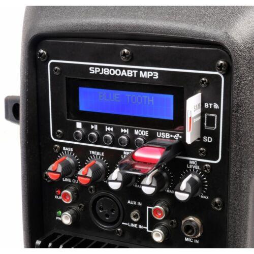 "ENCEINTE PORTABLE MOBILE ACTIVE AMPLIFIEE 8/"" 200W BATTERIE USB//SD//MP3//BLUETOOTH"
