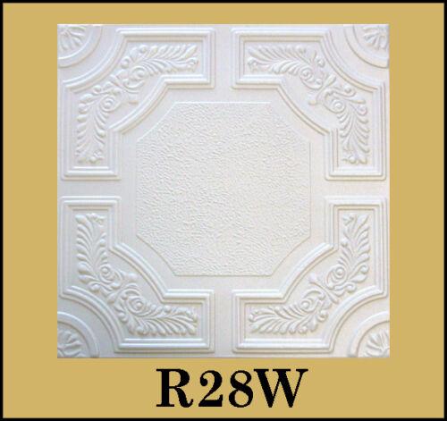 DIY Glue Up White Decorative Ceiling Tiles R28W Ultra Pure White Satin !