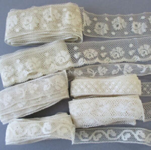 """Lot 6 Vintage Creamy French Valenciennes LACE Trims 3/4"""" - 1.5"""" W * Over 20 Yds"""