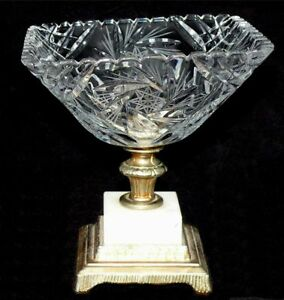 American-Brilliant-Period-Cut-Crystal-Candy-Bowl-Pinwheels-Marble-Metal-Base-US