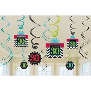 Celebrate 30th happy birthday party swirls hanging for 30th birthday party decoration packs