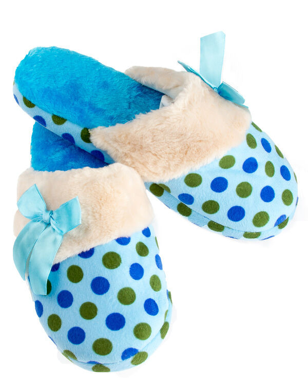 Women Slippers With Satin Bow SIZE Small 5-6 Blue Pink Anti-slip Rubber Sole