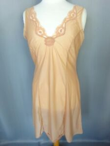 Nuisette fond de robe dentelle Vintage satin beige Taille L FR44 US12 UK16