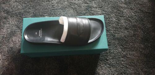 Buscemi Men's Feather Logo Leather Slide Sandals, Black